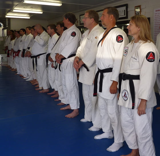 Eric Soares and his wife Nancy in jujitsu uniforms at the 50th anniversary of the Medford Judo Academy in 2010.