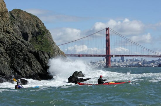 Students at last year's GGSKS in a sea kayaking rock-garden class by San Francisco's Golden Gate Bridge. (Photo copyright Dominick Lemarie)