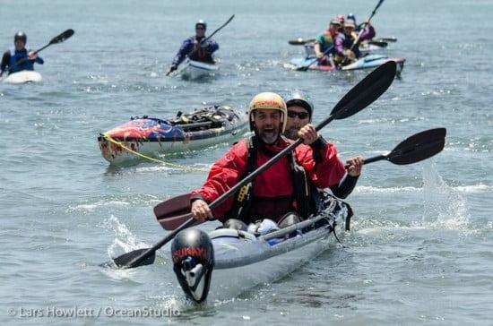 Tsunami Rangers Michael Powers (bow) and Jim Kakuk (stern) tow Eric's X-15