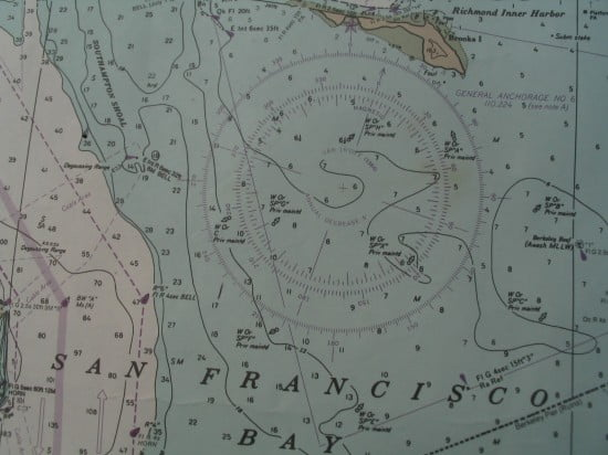 Compass rose on chart, used for plotting course lines. Use the inner rose for magnetic north (what the compass will read).