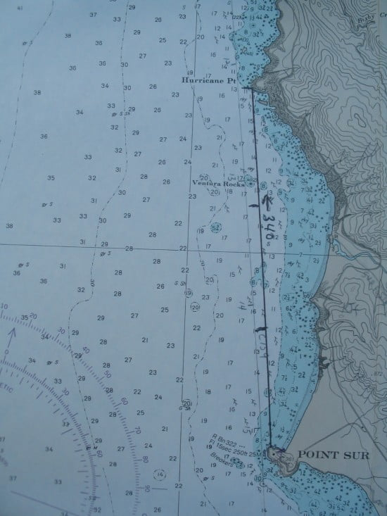 Course line plotted from Pt Sur to Hurricane Pt. Course is 340 (NNW). Nautical miles are ticked off; total distance 3 miles.