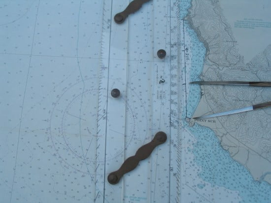 Course line was plotted using a parallel rule to determine the direction from the compass rose. Distance can be ticked off with a pair of dividers.