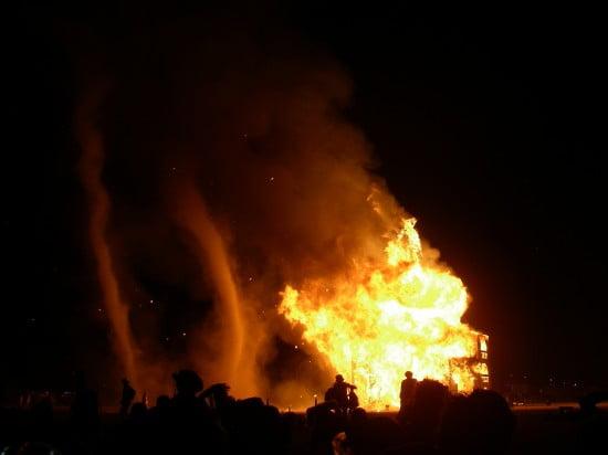 Fire tornados as the Man burns