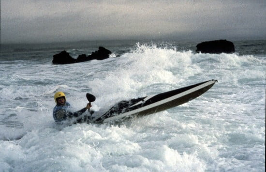 Tsunami Ranger Jim Kakuk playing on the reef at Pillar Point circa 1986.