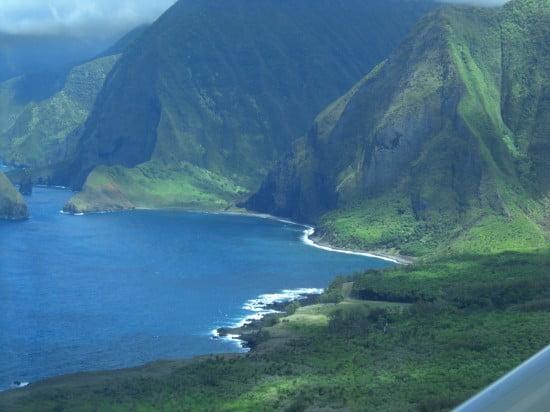 Molokai Cliffs and Kalaupapa Peninsula on the windward side of the island