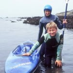Me and my son Nick, age 9, with my first boat Stella Blue in 1996
