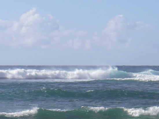 Dumping surf on the reef on Kauai
