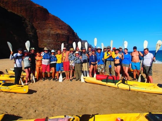 The Tsunami Rangers with friends and family on Kalalau Beach before departing on the last day of the journey.