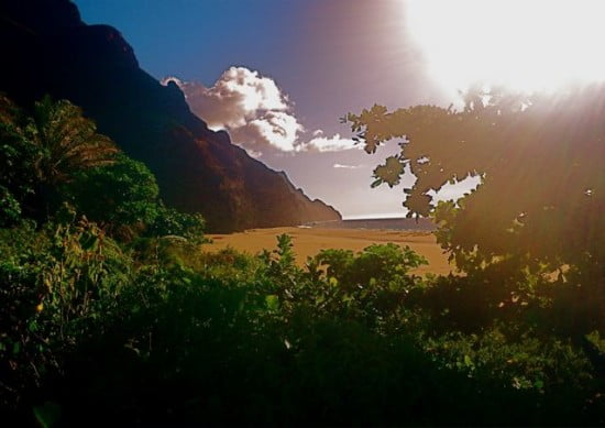 Kalalua beach as one emerges from the forest and streams
