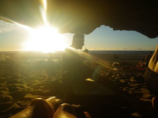 Cave dwelling campers at sunset