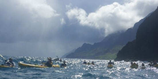 Kayaking the 6 million year-old Na Pali coast of Kauai, Hawaii