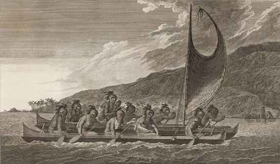 Double hulled canoes paddled by Hawaiians on a voyage on the Na Pali coast, similar to the vessels that transported local people and missionaries through this landscape in the past.this landscape.