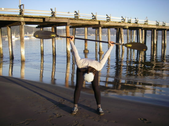 """Keep your core muscles engaged while bending forward. Press into your feet and """"root to rise""""."""