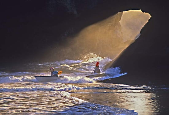 A similar photo by Michael Poewrs of this same spot was featured on the cover of the June 1997 issue of Sea Kayaker.