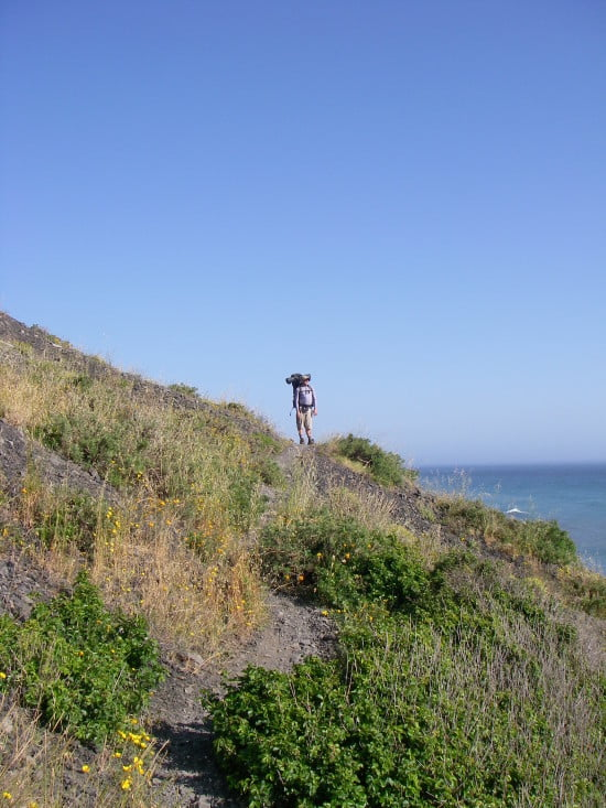 One of the more steep portions of the bluff trail