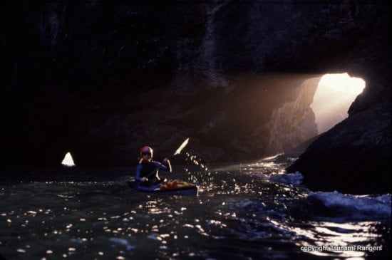 The exit is behind and to the right of the kayaker. Pictured: Laura Nixon