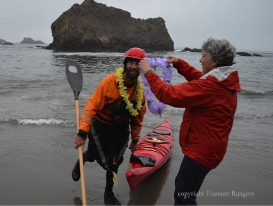 Jeff demonstrates his well-honed paddling technique - as influenced by teh Tsunami Rangers...