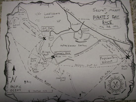 The Sea Gypsy Race map shows Pillar Pt. and its environs
