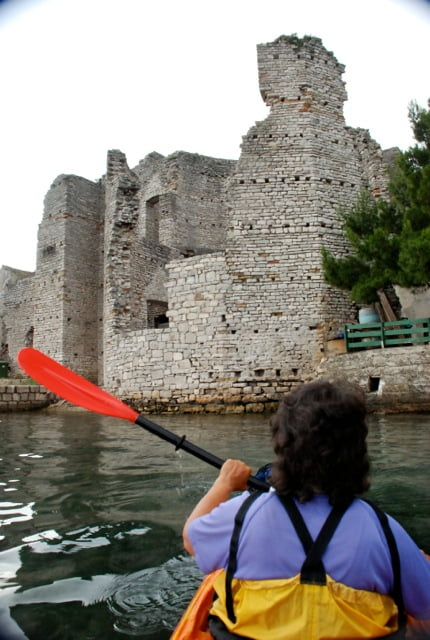 Landing on Mljet at Roman Palace, 2nd c. AD, when the sea level was lower. Polace, Mljet Island/NP, Croatia