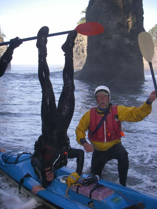 TR Dandy Don Kiesling demonstrates extreme core stability on retreat at Cape Flattery. TR Mark Hutson cheers him on.