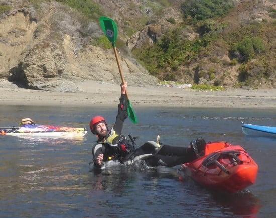 Jeff demonstrates sea kayaking skills in his own particular idiom