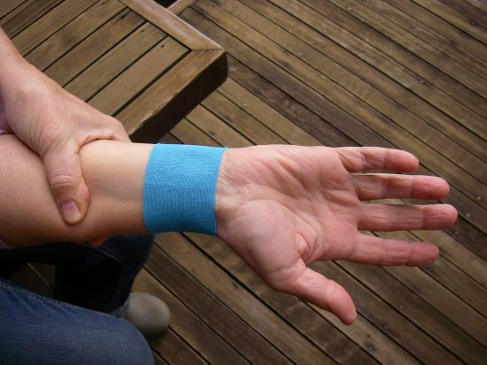 Wrap the joint tightly but not so as to restrict movement or blood flow.