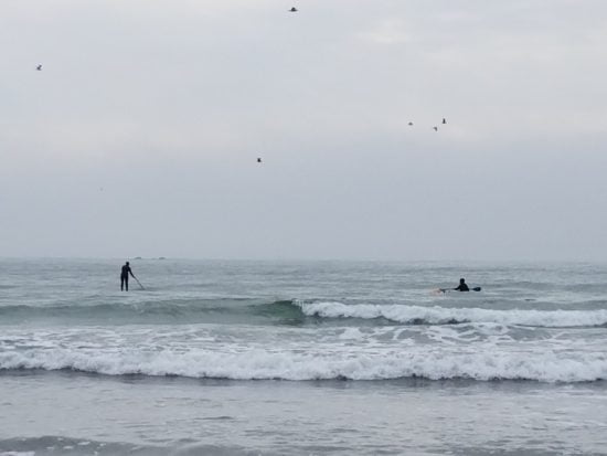 Hobuck Beach in September, 2017. This beach would be rated Class 3.7. The three factors bringing it up from Class 2 are: breaking waves up to 4', cold water at 52 degrees F, and the presence of other surfers.