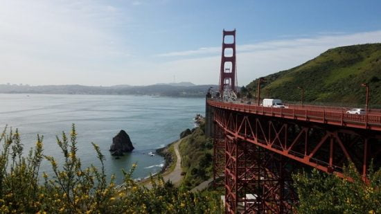The Golden Gate Bridge as seen from just above Horseshoe Cove
