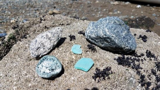 Treasure trove - blueschist, green schist, and some blue sea glass