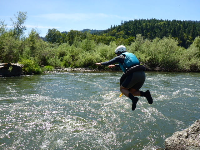Jumping into swirlies. this drill can be done on rivers on in the ocean. This drill conditions the swimmer to whitewater and chaotic conditions.
