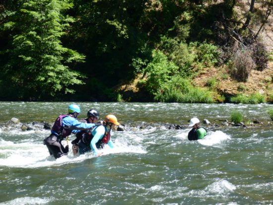 Swift water rescue practice - grab some buddies and practice walking in rapids.