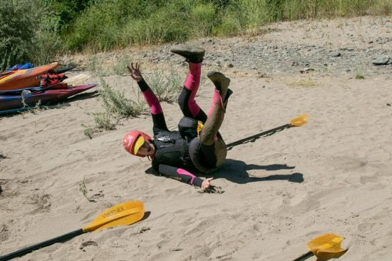 Practice rolling and falling on sand prepares you for impact in rocks and surf. Plus it's fun!