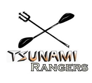 The logo of the Tsunami Rangers: trident and paddle