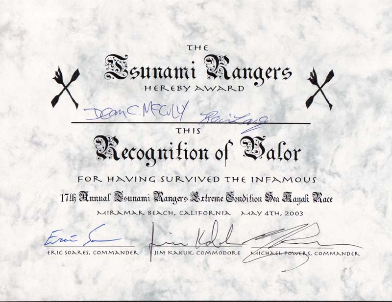 The only certificate you'll ever get from the Rangers, if you survived their race.