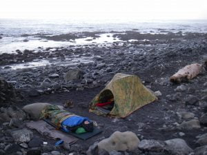 Pooping below the tide line at this camp on the Lost Coast was not a problem
