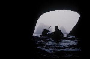 A soft, dim cave in fog