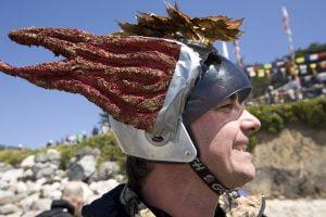TR Gordon Brown in his flaming helmet, 2009