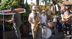 Front man TR John Lull and his trusty saxophone with the South City Blues Band
